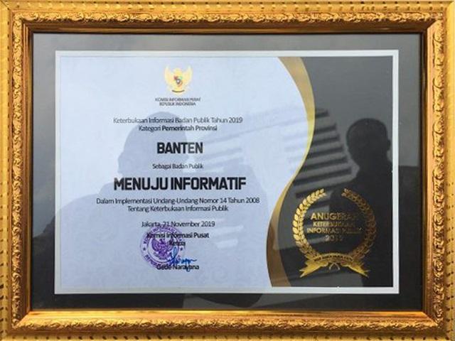 Anugerah Keterbukaan Informasi Badan Publik dari Komisi Informasi Pusat tahun 2019 Provinsi Banten