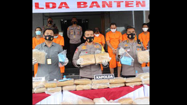 Pelaku Penyelundupan 159 Kg Ganja Ditangap Polda Banten