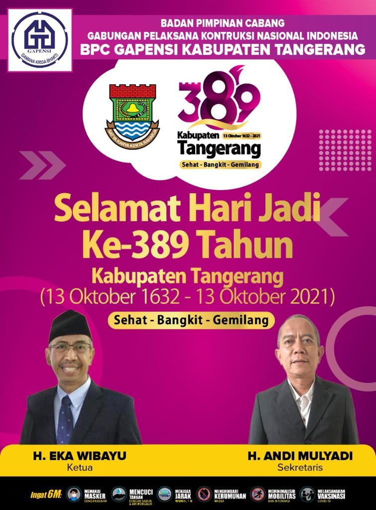 hut kabupaten tangerang ke 389 tahun 2021